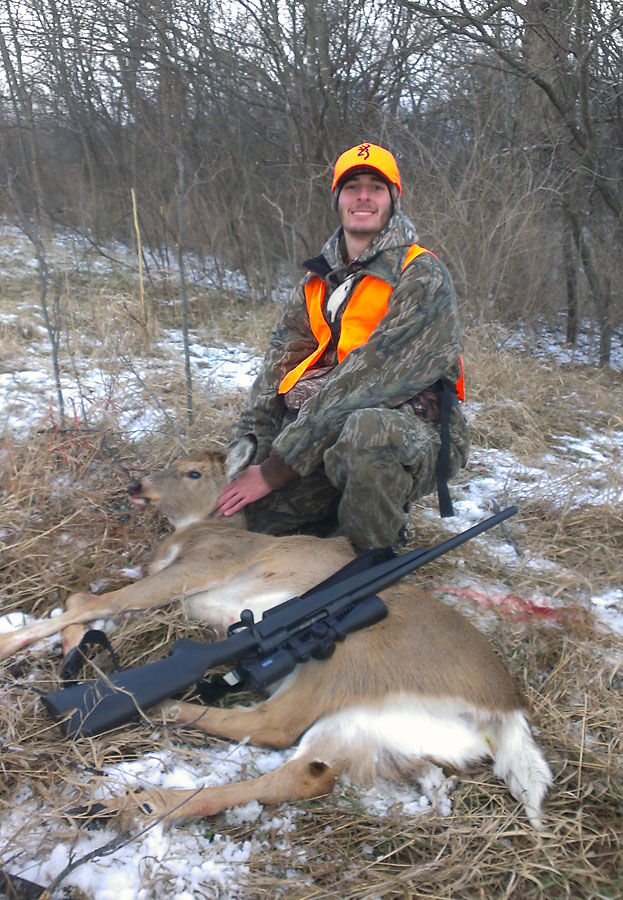 Savage 220 scoped with the Hawke Endurance LER, and Lightfield Sabot Slugs proved to be a deadly combination for my son Kyle during our January antlerless-only deer hunt in Western Illinois.