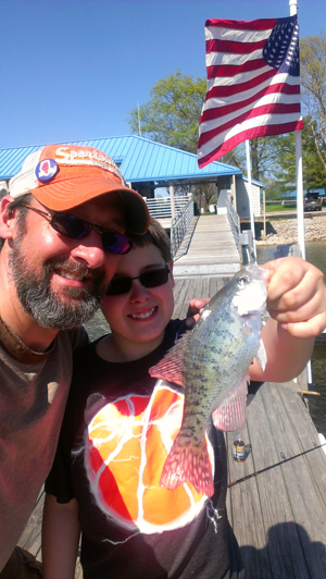 I love Southern Illinois in the spring. Crappie fishing, wild turkeys and morels make it a great place to spend time with family. My son Nate proudly hoists his first crappie of the year.