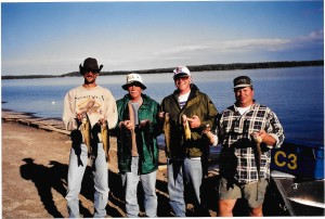 Nothing beats catching walleye with buds - Ray and Christian Turvey and my late fishing bud Gene Walsh.